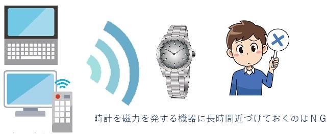 時計を磁力を発する機器類に近づけすぎるのはNG
